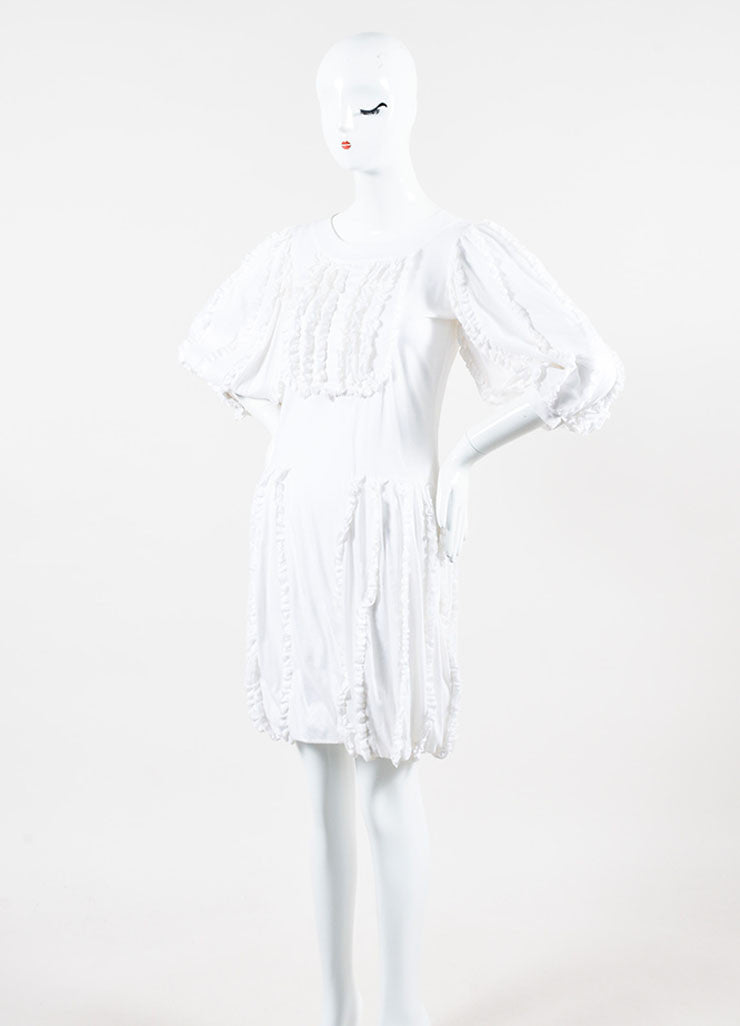 White Cotton Chanel Ruffled Crop Sleeve Bubble Dress Side