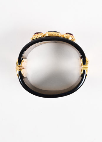 Chanel Black, Red, and Gold Toned Resin Gripoix Glitter Wide Bangle Cuff Bracelet Topview