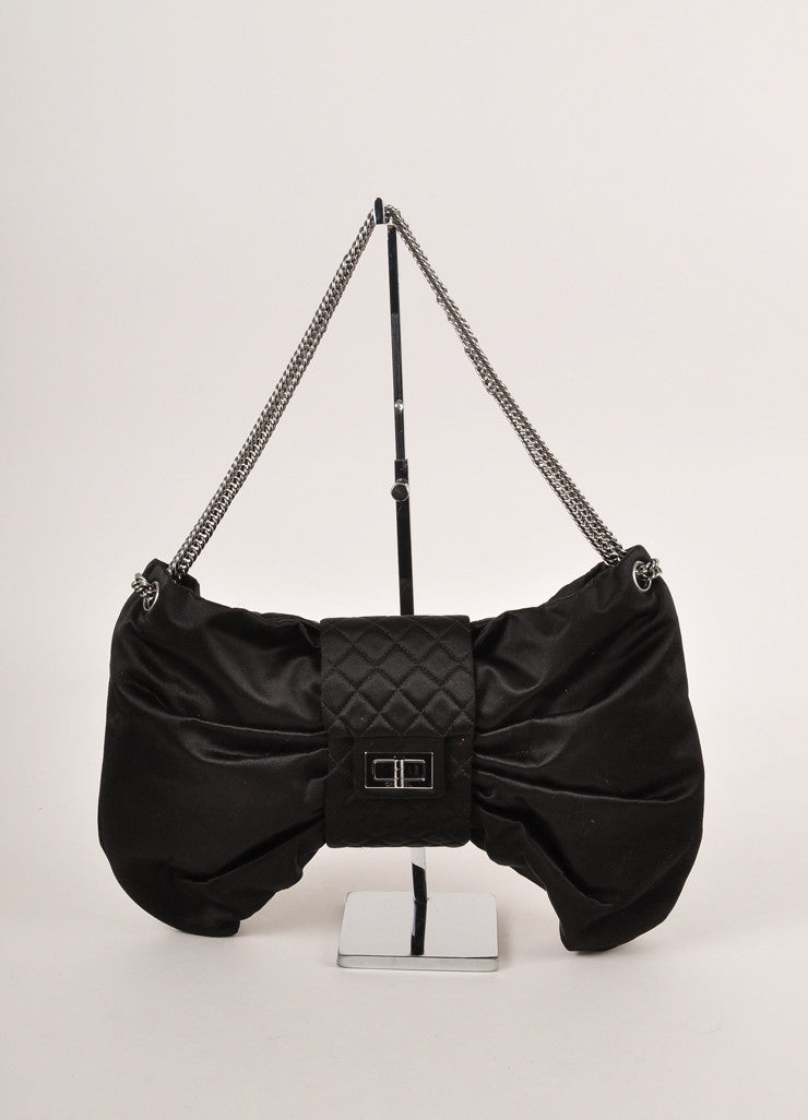 Chanel Black Satin Gathered Bow Chain Strap Evening Shoulder Bag Frontview