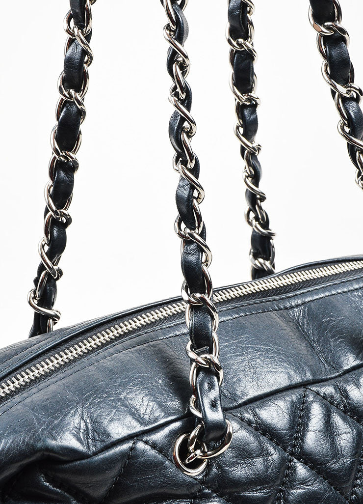 Black and Silver Toned Chanel Leather Quilted Shoulder Bag Detail 2