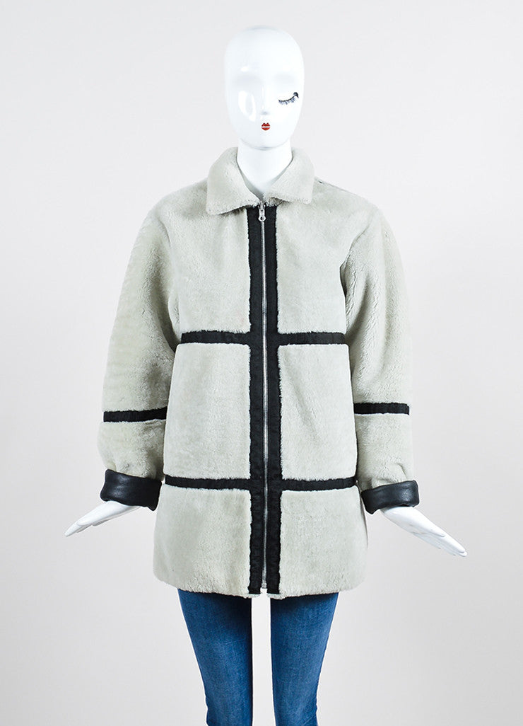 Black Leather and Cream Shearling Reversible Chanel Zip Up Coat Frontview 4