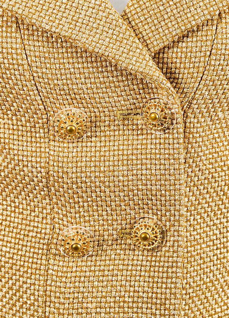 Metallic Gold Chanel Tweed Fringe Long Sleeve High-Low Jacket Detail
