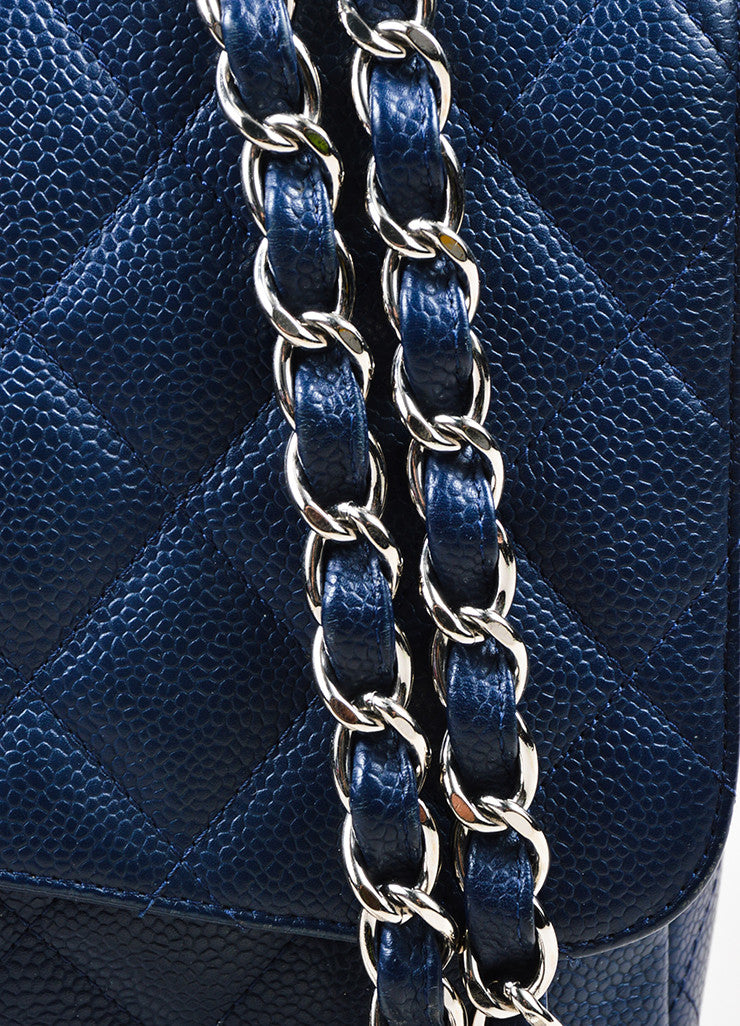 "Navy Chanel Caviar Leather Quilted Jumbo ""Classic Flap"" Shoulder Bag Detail 2"