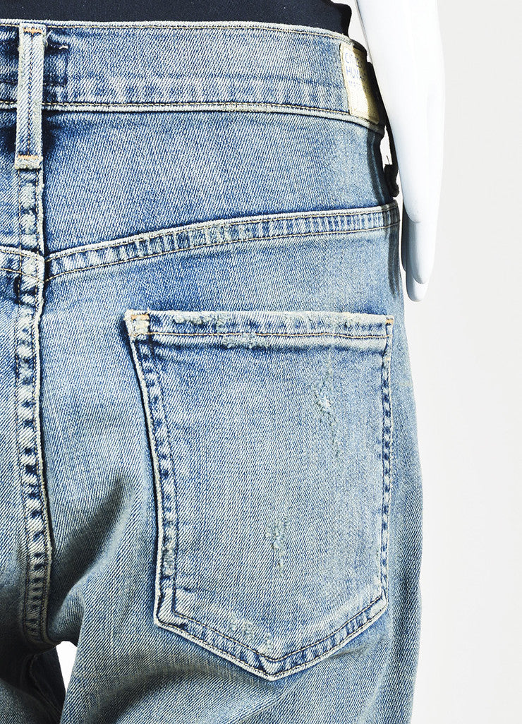 "Citizens of Humanity Blue Denim ""Corey Crop"" Slouchy Slim Jeans Detail"