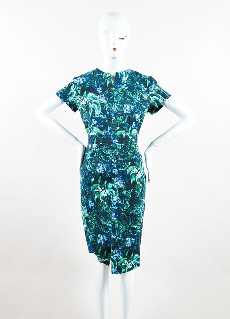 Erdem Green and Blue Tropical Floral Print Short Sleeve Dress Frontview
