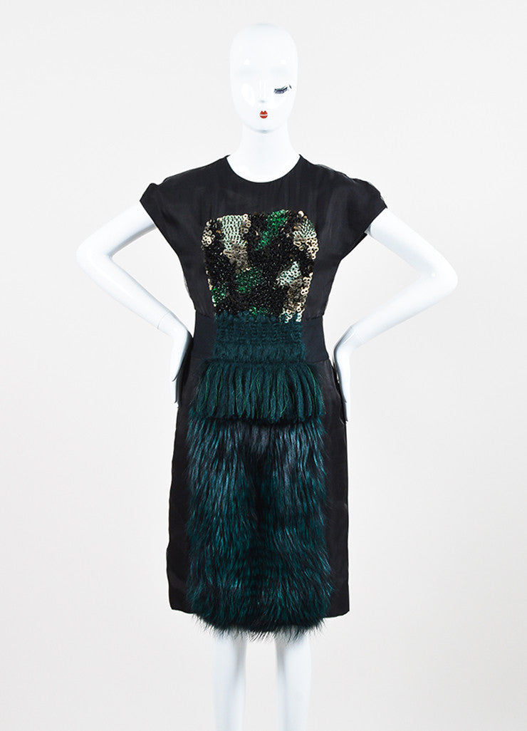 Black and Green Fendi Silk Blend Fox Fur Panel Embellished Short Sleeve Dress Frontview