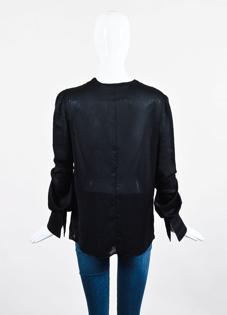 Black Givenchy Sheer Pleated Deep V Long Sleeve Blouse Backview