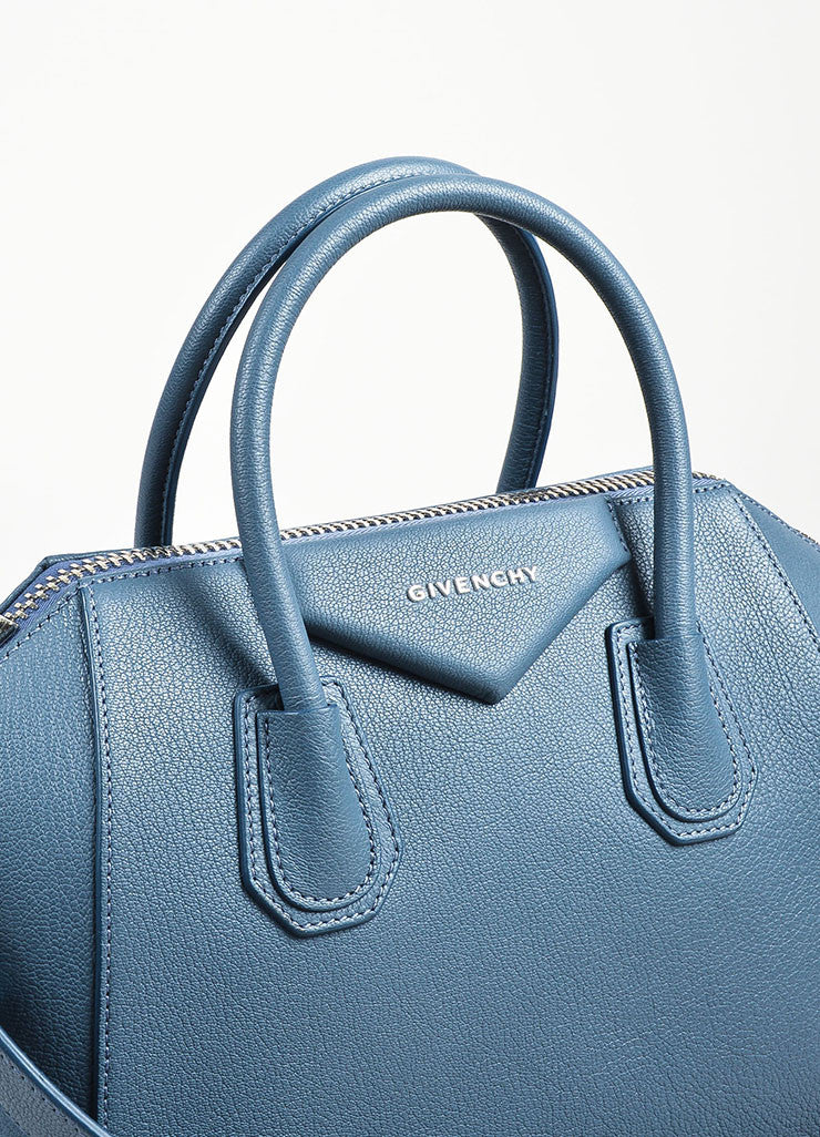 "Givenchy Blue Sugar Goatskin ""Small Antigona"" Satchel Bag Detail 3"