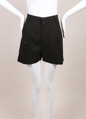 "Haider Ackermann New With Tags Black and Green Grosgrain Panel ""Hathor"" Shorts Frontview"