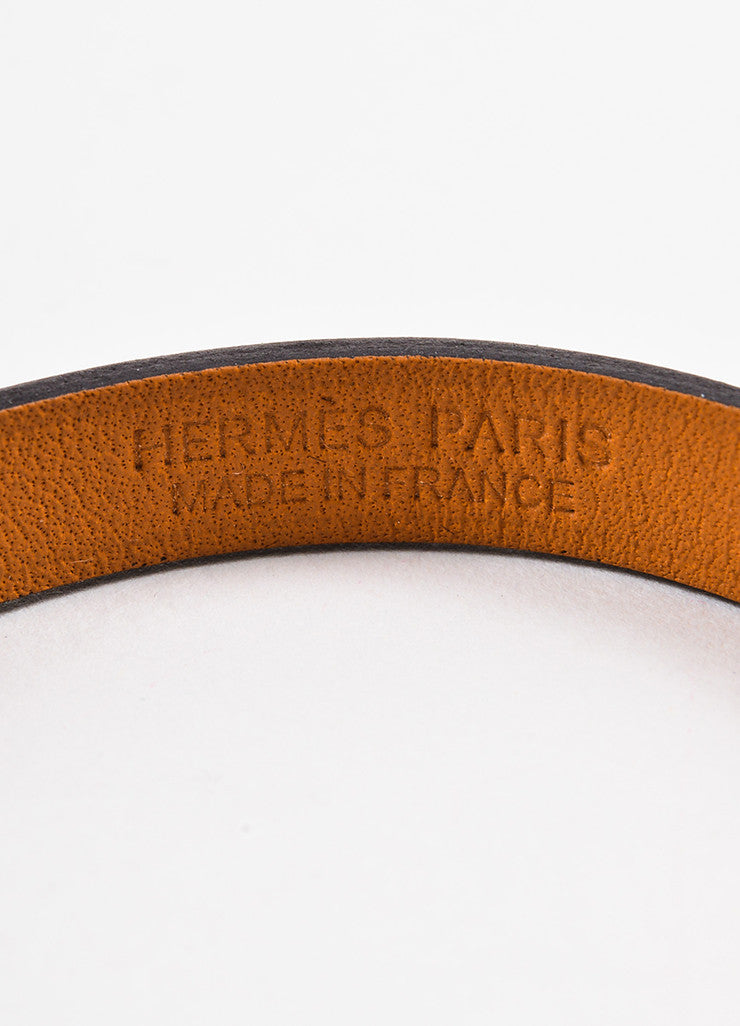 "Hermes Green Leather Gold Plated ""Micro Rivale"" Bracelet Brand"