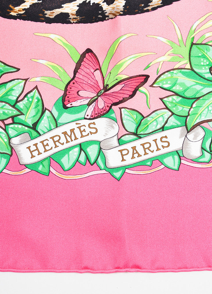 "Hermes Pink, Green, and Beige Silk Twill Leopards ""Jungle Love"" 90cm Square Scarf Brand"