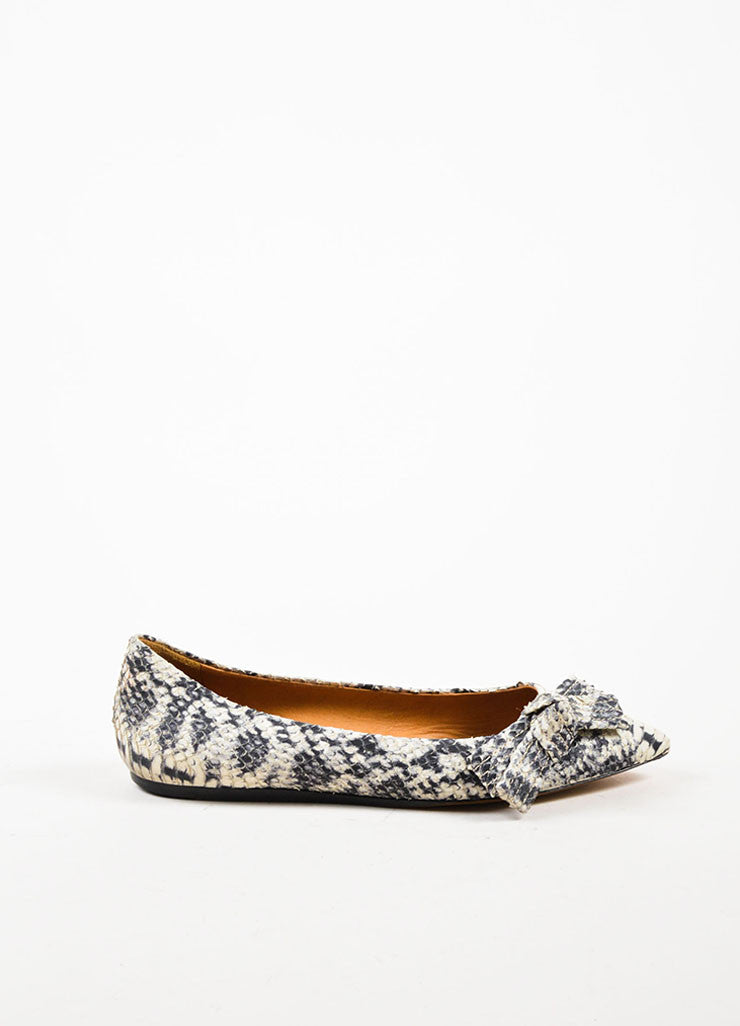 Isabel Marant Black Cream Python Effect Bow Pointed Toe Flats Sideview