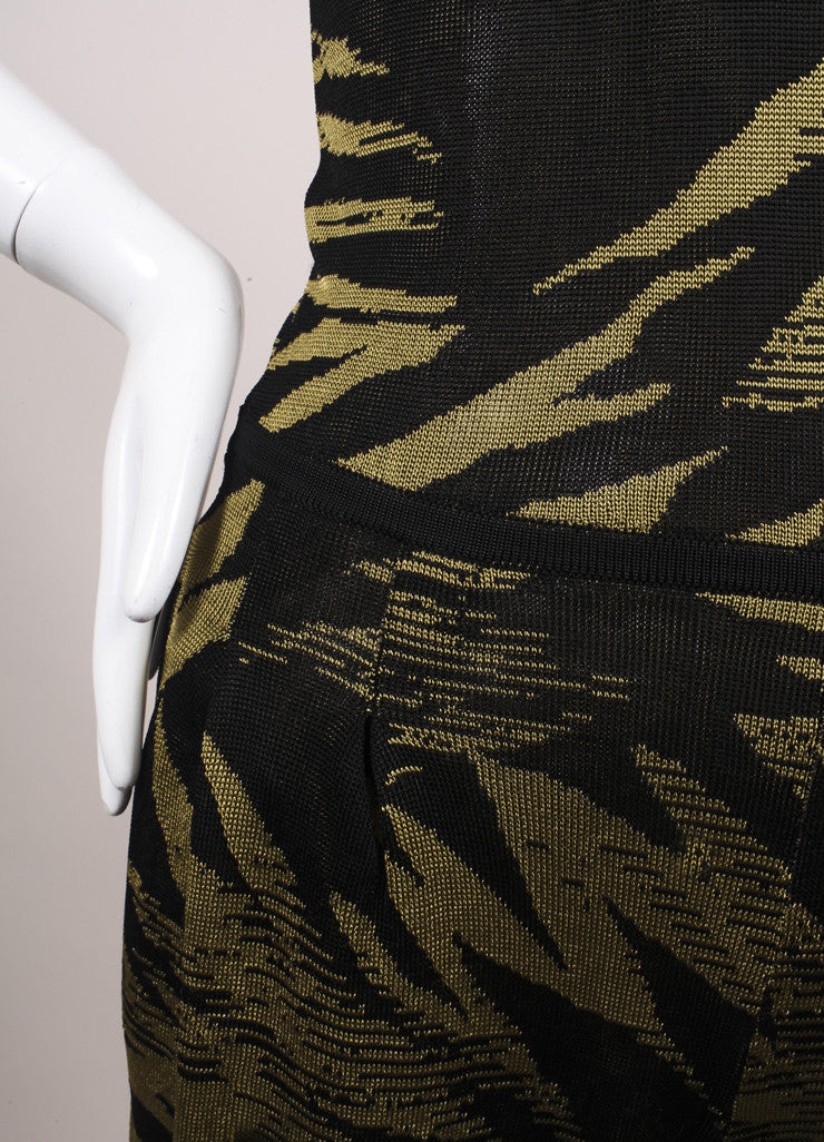 Jason Wu Black and Green Botanical Palm Print Knit Sleeveless Romper Detail 2