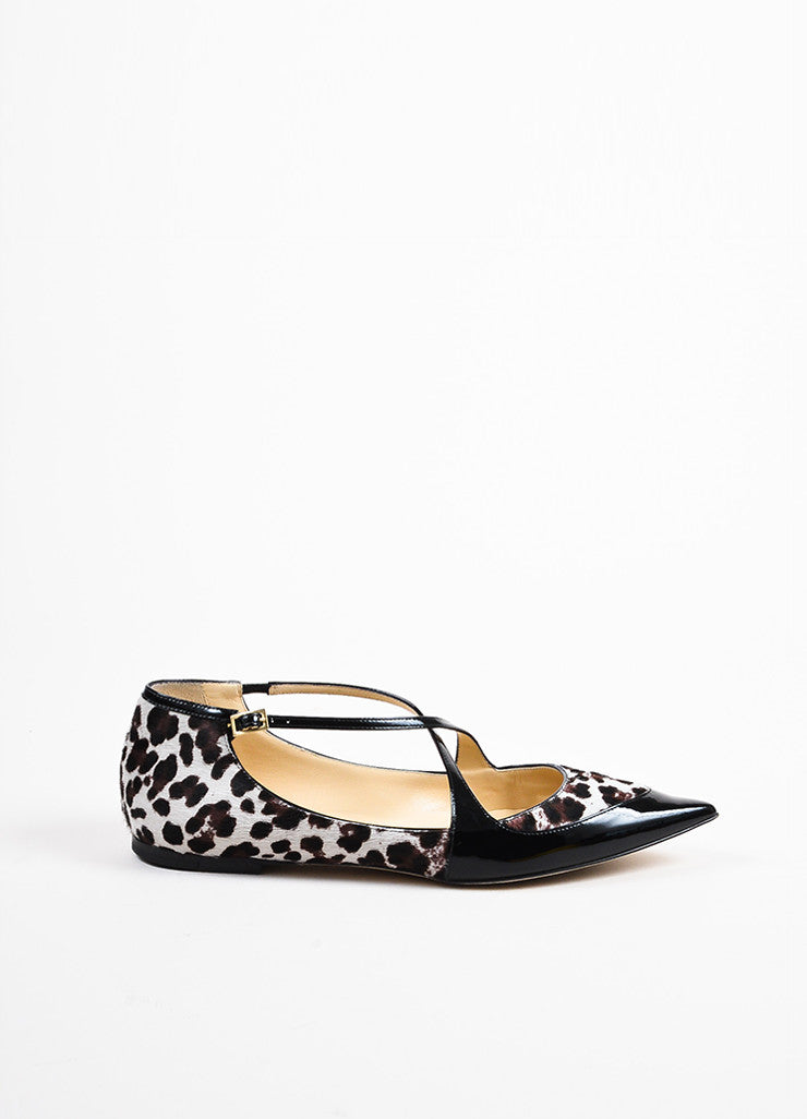 "Jimmy Choo Brown and Cream Pony Hair and Patent Leather ""Gamble"" Flats Sideview"
