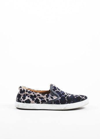 "Black, Blue, and Taupe Jimmy Choo Leopard Pony Hair Slip On ""Demi"" Sneakers Sideview"