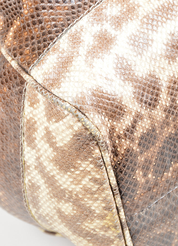 "Beige and Brown Jimmy Choo Snakeskin Leather Gathered ""Ramona"" Shoulder Bag Detail"