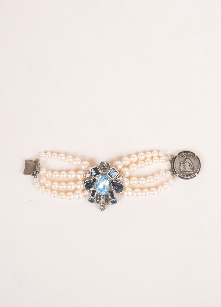 Lanvin Cream, Blue, Grey Rhinestone and Faux Pearl Embellished Multi Strand Bracelet Detail