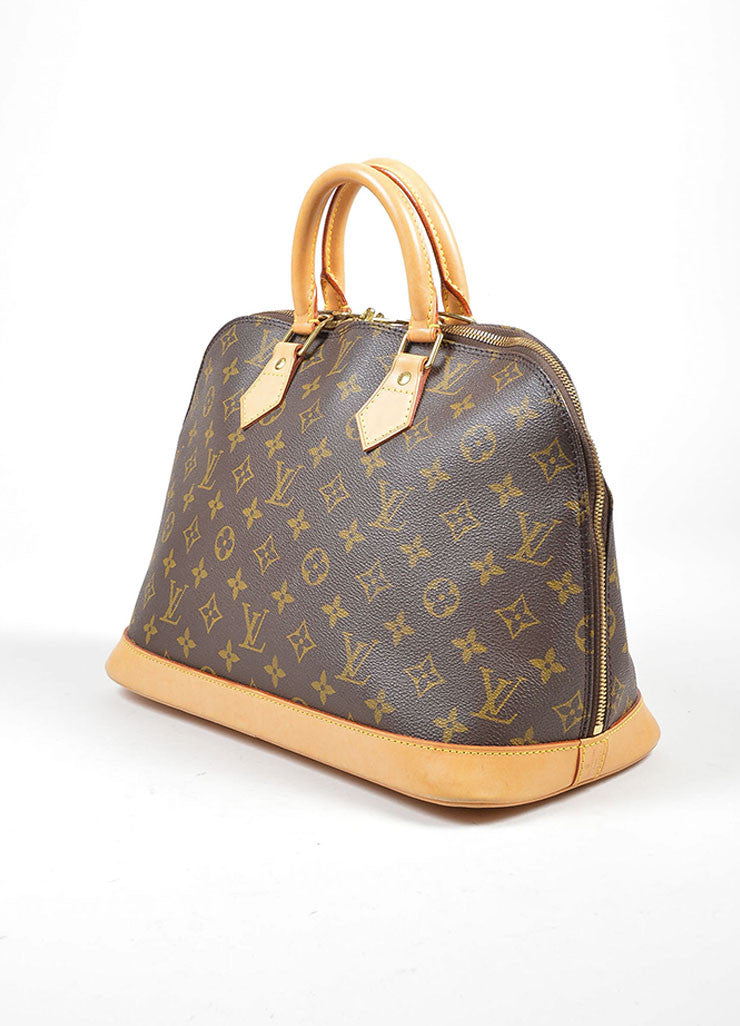 "Brown Louis Vuitton Monogram Canvas ""Alma PM"" Handbag Sideview"