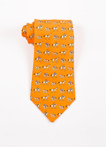 Men's Hermes Orange Silk Rocking Horse Jockey Print Necktie Front