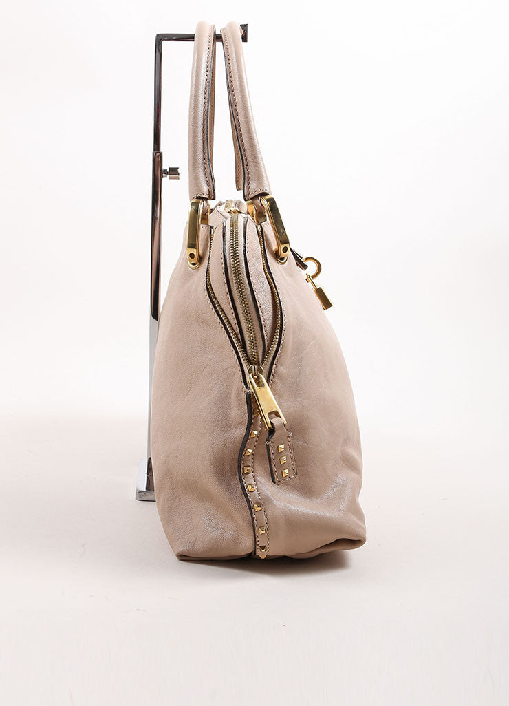 "Marc Jacobs Beige Leather ""Paradise Little Janice"" Studded Satchel Bag Sideview"