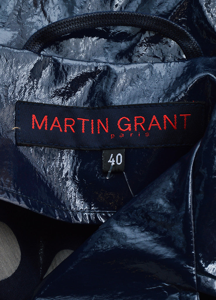 Martin Grant Navy Blue Patent Belted Trench Coat Brand