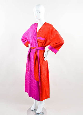 Mary McFadden  Red and Purple Floral Midi Dress With Belted Robe Sideview