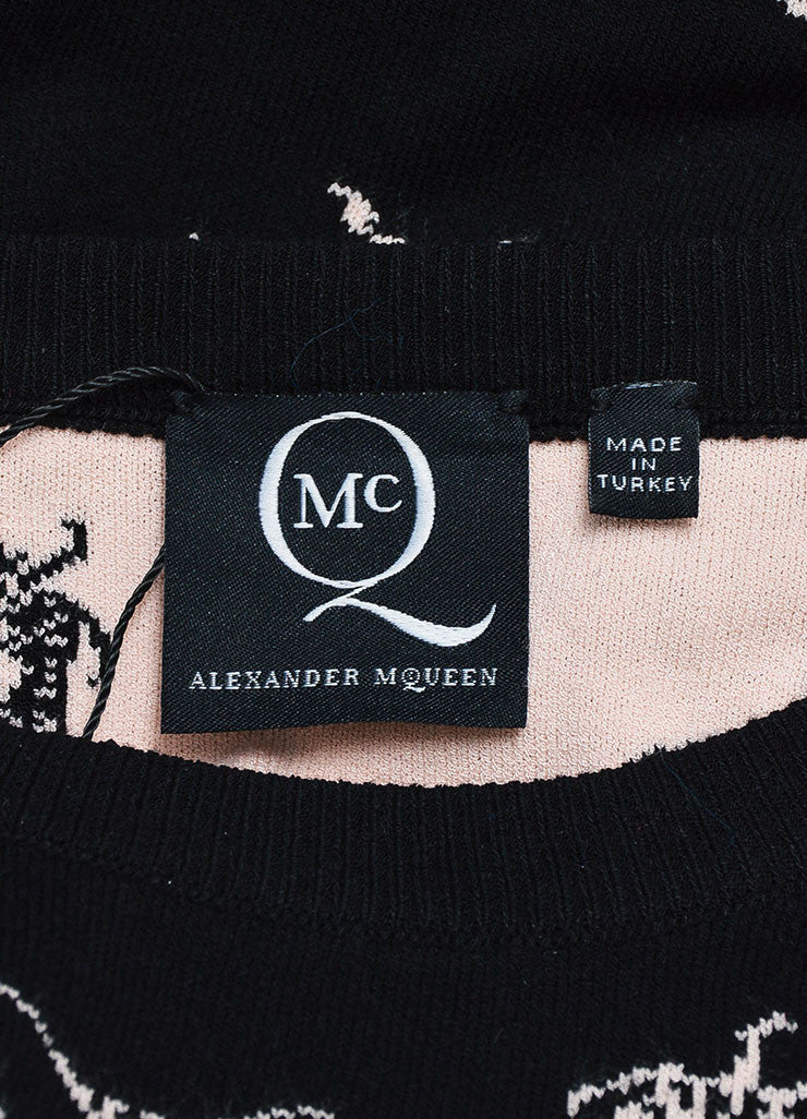 McQ by Alexander McQueen Black and Pink Intarsia Knit Bug Sweater Brand