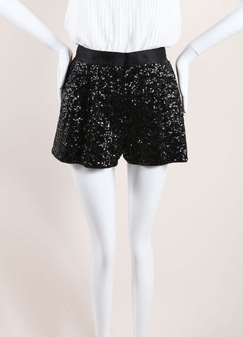 Moschino Cheap & Chic Black Sequin Satin Pleated Shorts Front