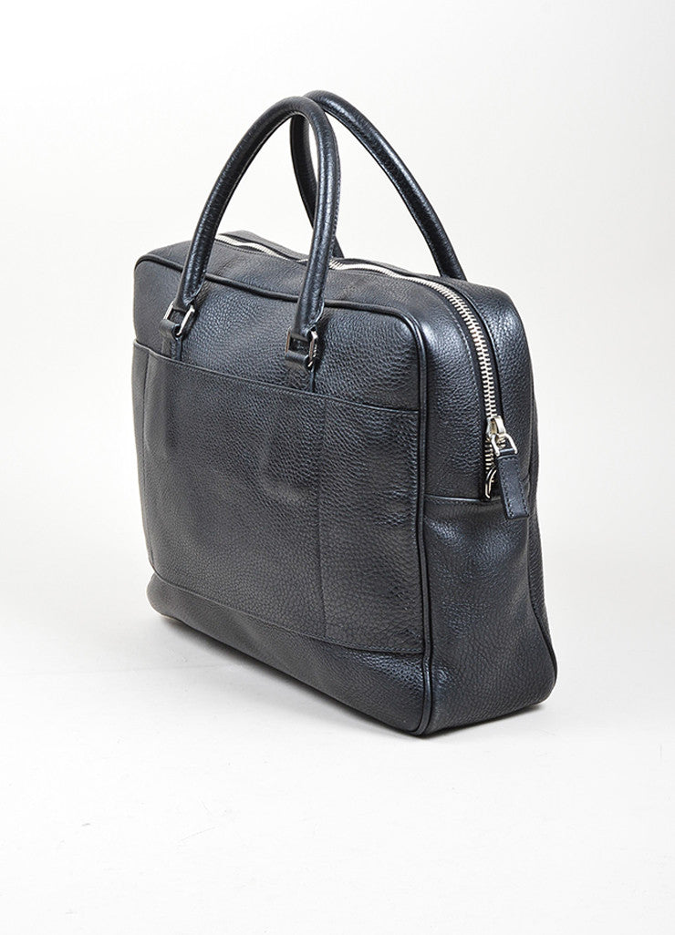 Prada Black Leather Briefcase Sideview