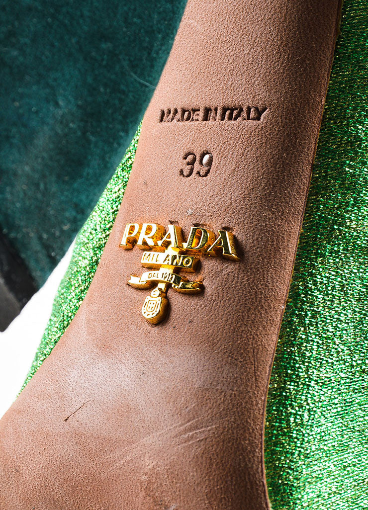 Green Prada Suede and Python Metallic Knee High Heeled Boots Brand