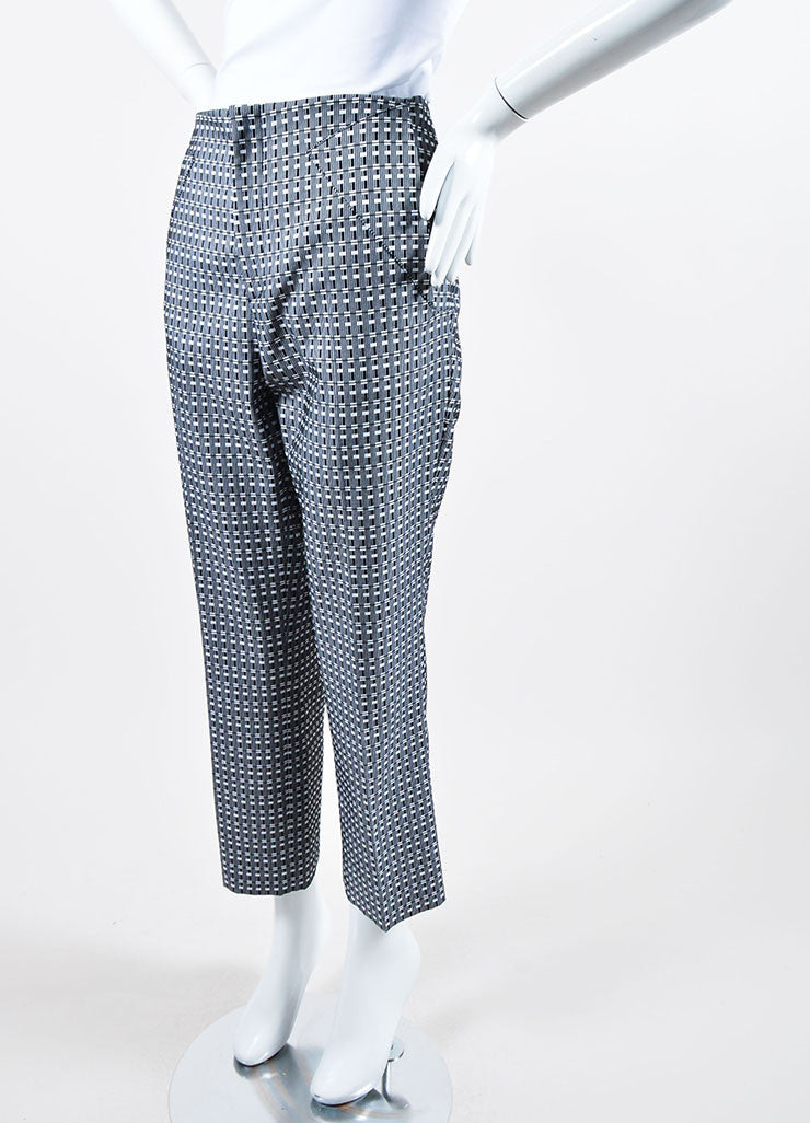 Black and White Roland Mouret Mimosa Check Straight Ankle Pants Sideview