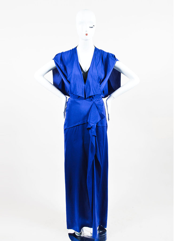"Blue Roland Mouret Silk Ruffle Sleeveless ""Coppelia"" Gown Frontview"