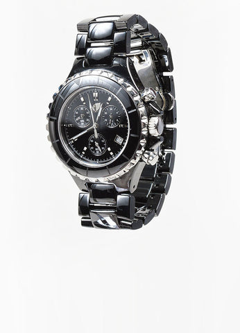Black and Silver Toned Tamara Comolli Cermaic Large Chronograph Bracelet Watch Sideview
