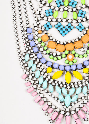Tom Binns Gunmetal and Multicolor Painted Coated Rhinestone Chandelier Bib Necklace Detail