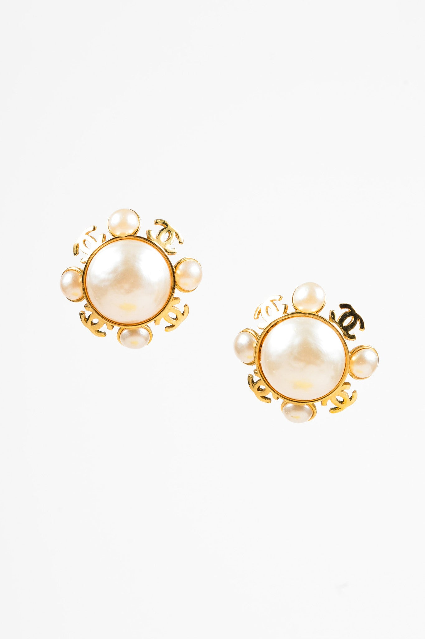 Chanel Gold Toned and Faux Pearl 'CC' Clip On Earrings Frontview