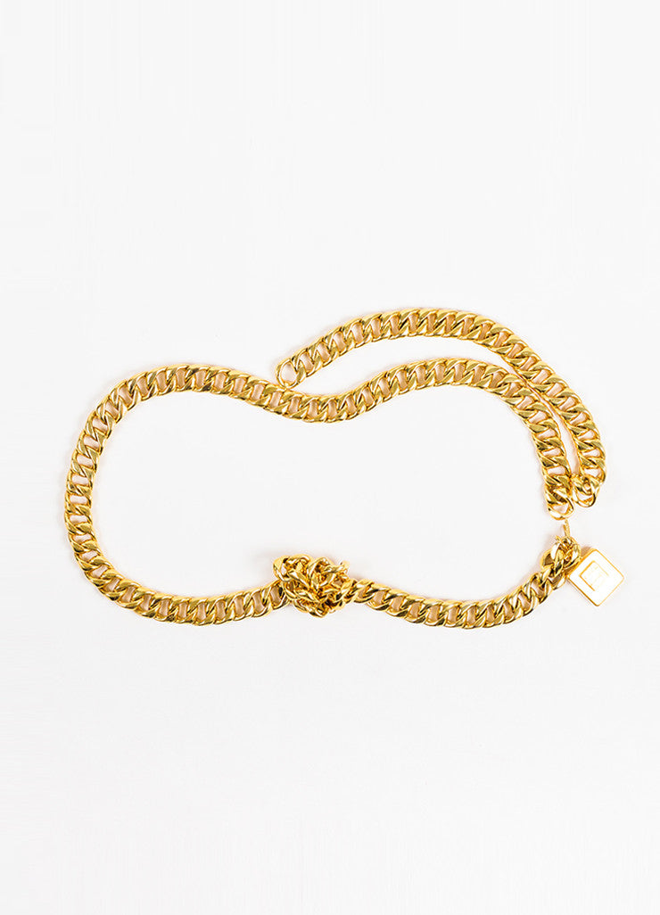 Chanel Gold Toned Perfume Charm Tassel Curb Chain Belt Frontview