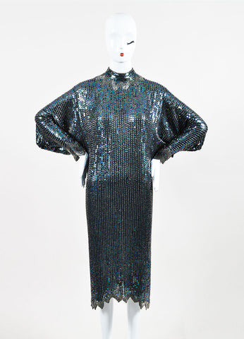 Halston Black Multicolor Sequin Beaded Dolman Sleeve Cocktail Dress Frontview