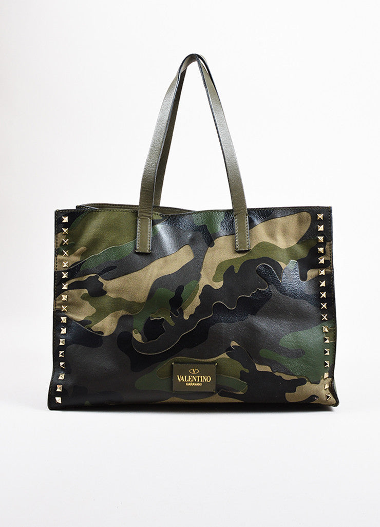 "Valentino Garavani Green and Black Canvas and Leather Camo ""Rockstud"" Tote Frontview"