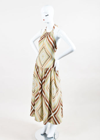 Brown Green & Pink Valentino Silk Striped Halterneck Maxi Dress Front