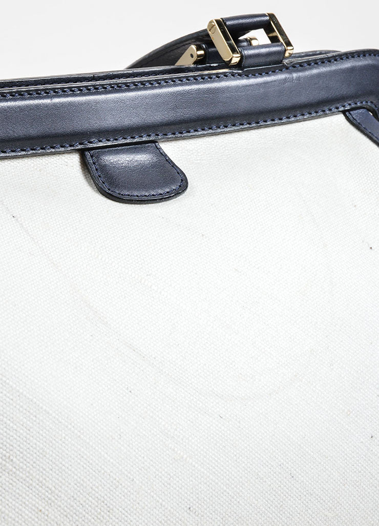 Valextra Midnight Navy Leather and Cream Canvas Doctor Handbag Detail 2