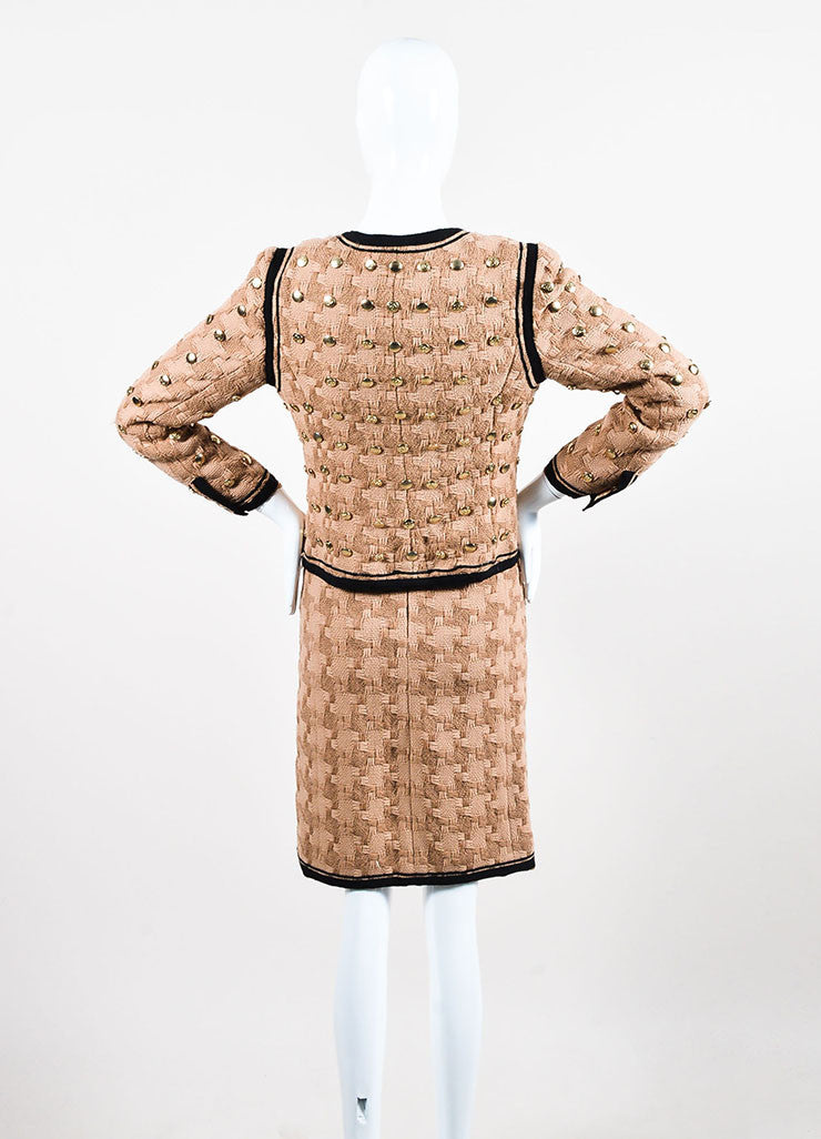 Tan and Black Chanel Woven Button Embellished Skirt Suit Backview
