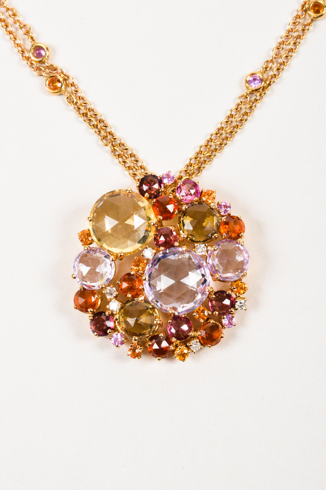 "A & Furst 18K Gold, Pink Sapphire, and Diamond ""Bouquet"" Pendant Necklace Detail 2"