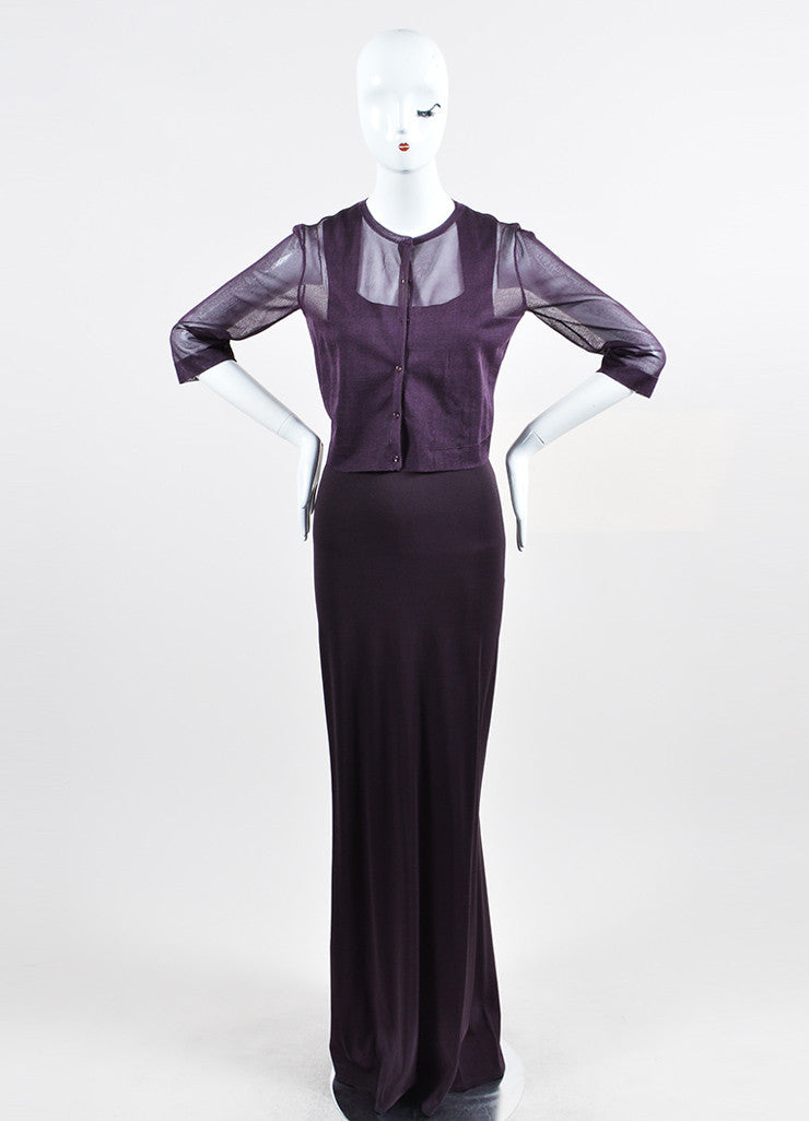 Dark Purple Alaia Square Neck Gown With Sheer Shrug Frontview