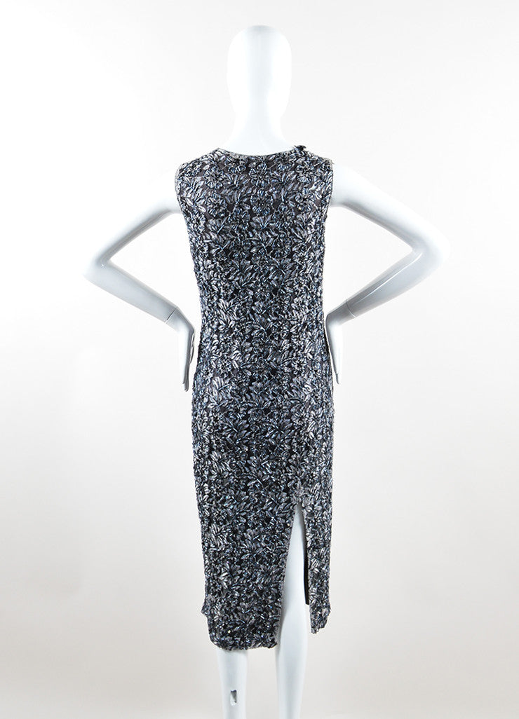 Alexander McQueen Grey and Black Floral Bead Embellished Dress Backview