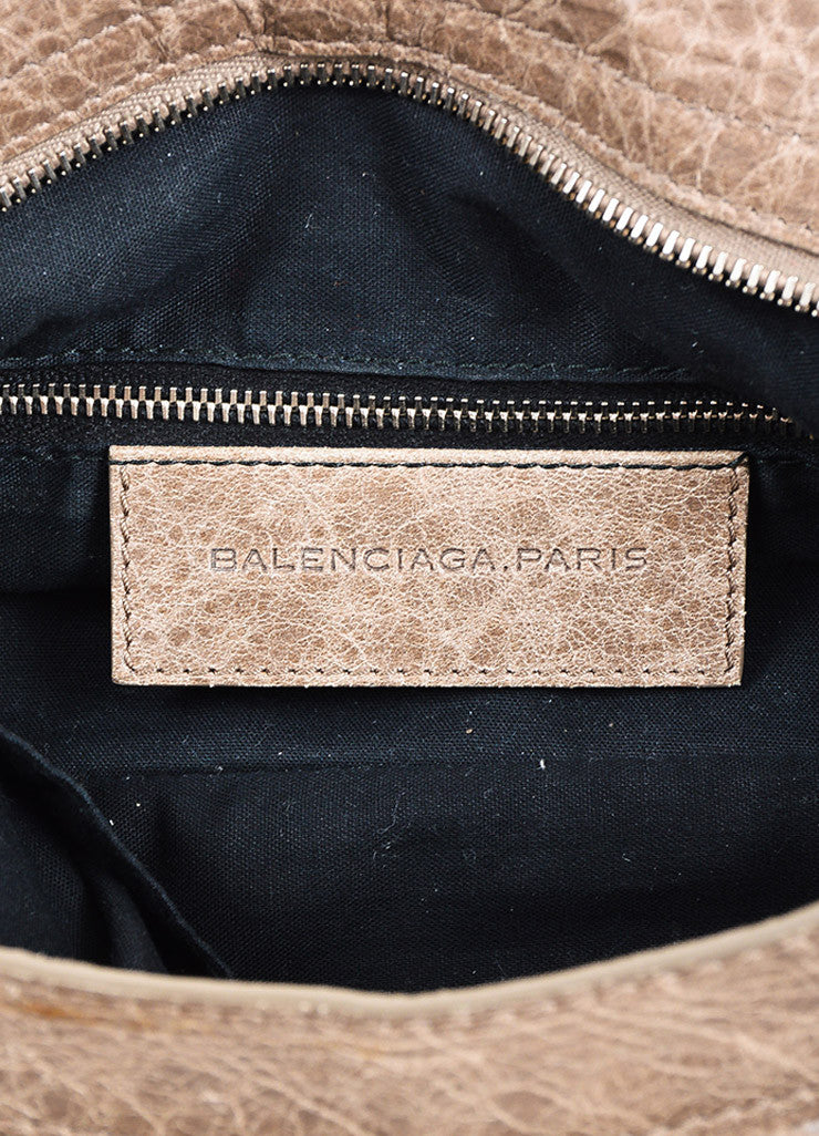 "Balenciaga Grey Distressed Leather Studded ""Giant 12 Town"" Bag Brand"