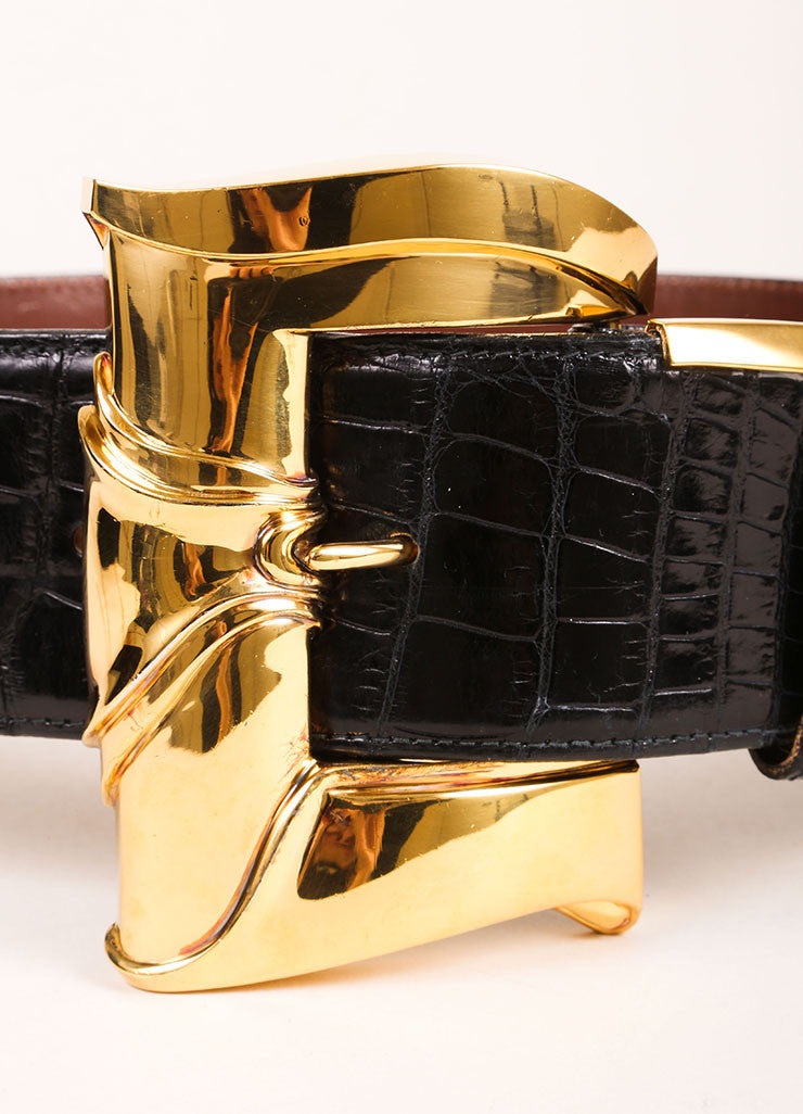 Barry Kieselstein Cord Black and Gold Toned Crocodile Leather Oversized Buckle Belt Detail