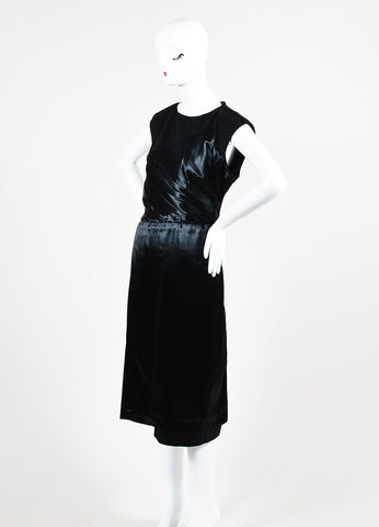 Black Bottega Veneta Wool and Satin Asymmetrically Draped Sleeveless Dress Sideview
