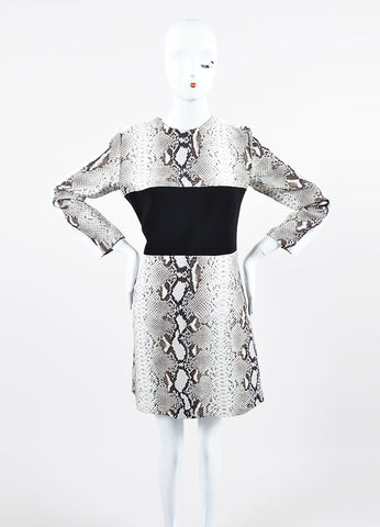 Black and White Carven Snakeskin Print Colorblock Long Sleeve Sheath Dress Frontview