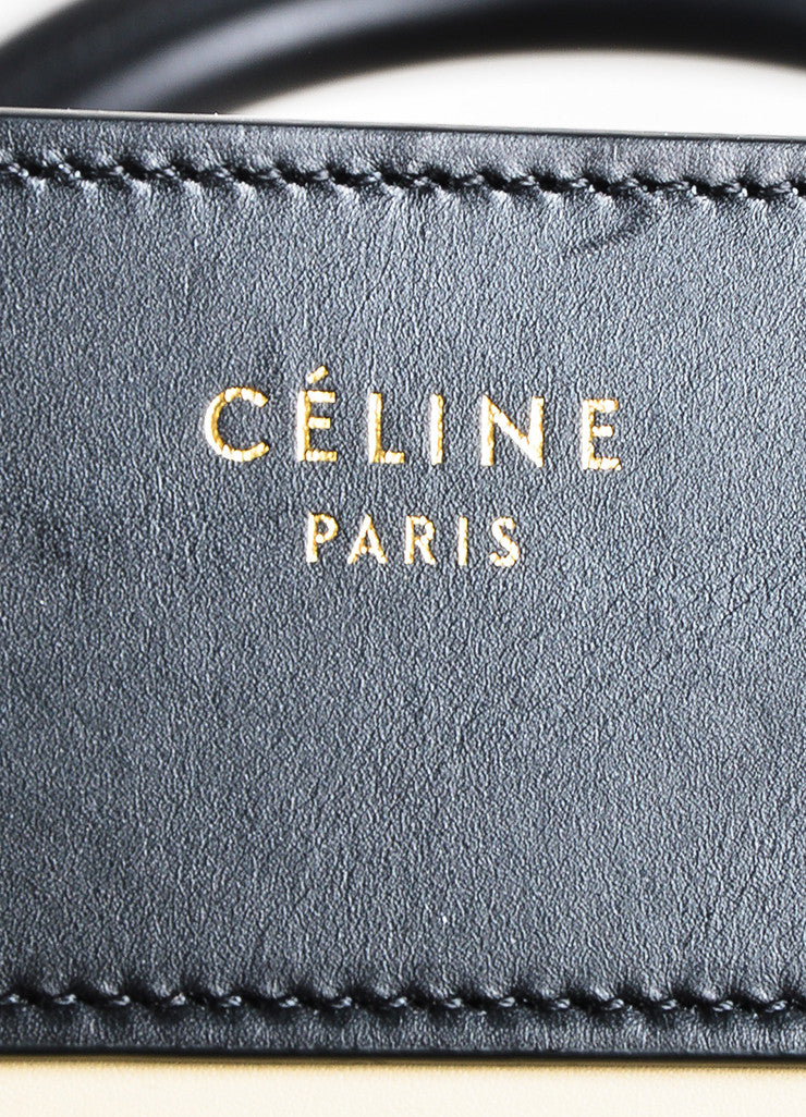 "Black Camel Nude Celine Leather Tricolor ""Mini Luggage"" Tote Bag Brand"