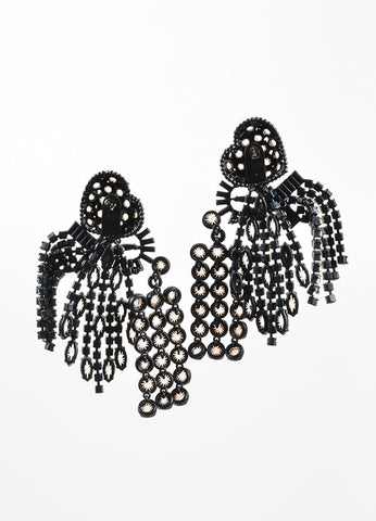"Painted Aluminum and Crystal Celine ""Riviere"" Heart Chandelier Earrings Backview"